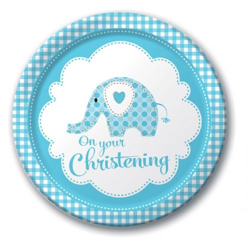 SWEET ELEPHANT ON YOUR CHRISTENING BLUE PLATES